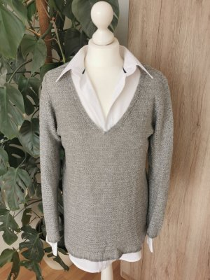 Grobstrick-Pullover V-Ausschnitt Pulli Grau Oversized S