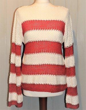 Heine Pullover a maglia grossa bianco-rosso Acrilico