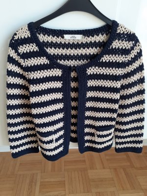 0039 Italy Coarse Knitted Jacket dark blue-oatmeal cotton