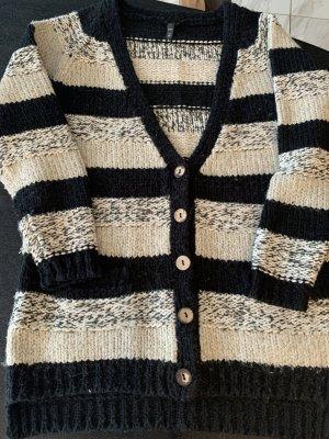 Fuga Veste tricotée en grosses mailles blanc-noir