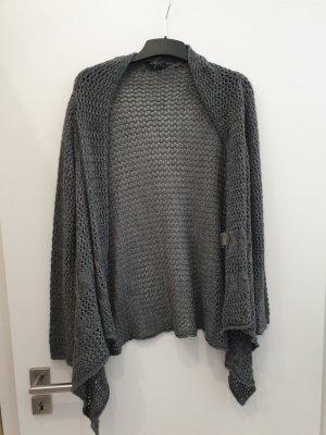 Vestino Veste tricotée en grosses mailles gris-gris foncé
