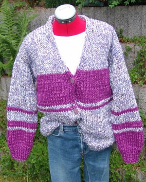 Coarse Knitted Jacket multicolored cotton