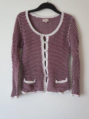 Coarse Knitted Jacket dark red-white cotton