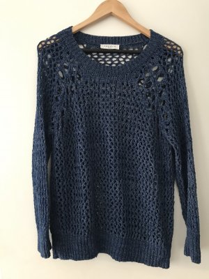 Sandro Coarse Knitted Sweater blue-dark blue