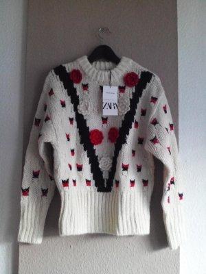 Grobstrickpullover mit Blumen, Limited Edition, Grösse S, neu