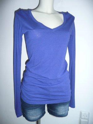 Groceries Apparel Eyecatcher Langarm Shirt mit V-Neck Kobalt Blau Gr S 36