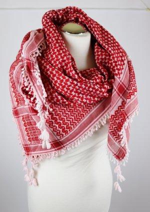 Groß Weich Fransen Baumwolle Tuch 120cm x 120cm Pali Schal Quaree Arafat Kopftuch Weiß Rot
