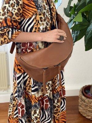 Grossbody Extra große Bauchtasche Handtasche Tasche  Leder Umhängetasche braun