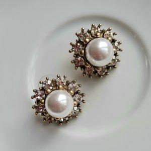 große antiksilberfarbe Perlen Ohrringe mit funkelnden Steinchen