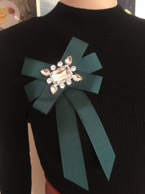 Accessorize Brooch dark green-silver-colored