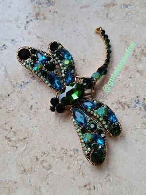 große Brosche Libelle mit grünen und blauen Kristallsteinchen * Kettenanhänger