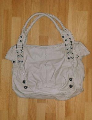 große Damen Tasche mit Reißverschluss / Handtasche / Shopper in beige