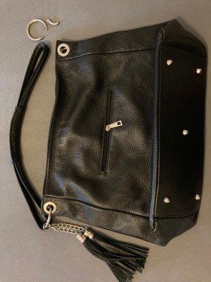 Große Handtasche aus schwarzem Leder