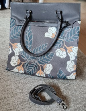 Große Handtasche * David Jones Paris * Grau / Geblümt