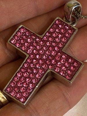 Große Kreuz echt Steine vintage Halskette
