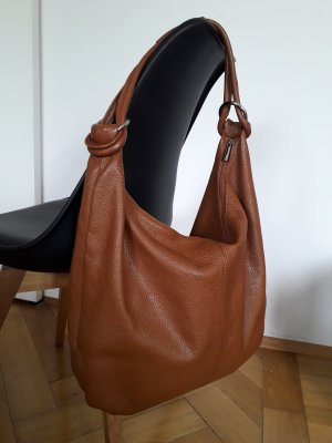 Genuine Leather Bolsa Hobo marrón-coñac Cuero