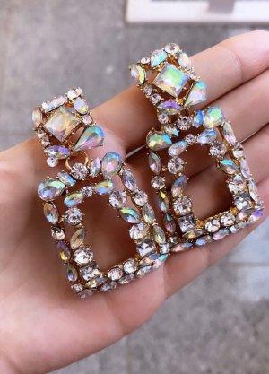 Große Ohrringe Statement Statementohrringe strass strasssteine Glitzer Glitter Steine Steinchen