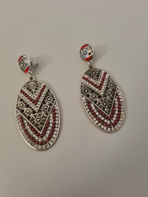 Scarlet Bijoux Statement Earrings silver-colored-red