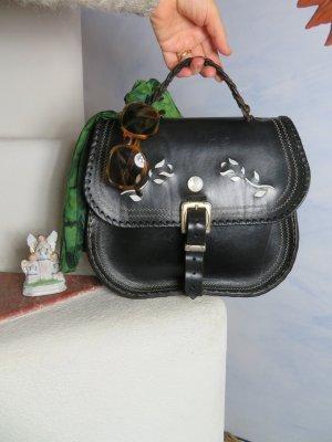 Große Sattelleder Tasche Intarsien Ornamente - Saddle Bag Cowboy Handtasche - Schwarz Leder Vintage