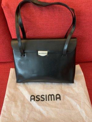 Große, schwarze Lederhandtasche von Assima