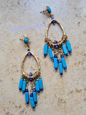 luxury collection Boucle d'oreille incrustée de pierres doré-bleu fluo