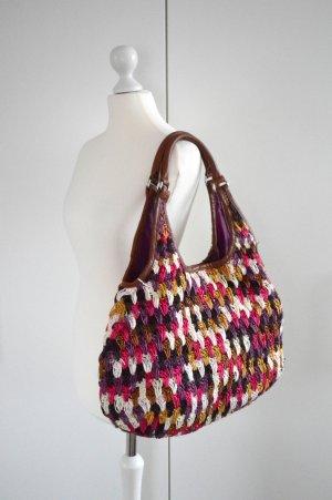 große Tasche braun pink lila weiß gelb schwarz Strandtasche H&M