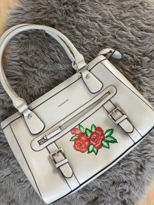 Große Tasche creme mit Rosen