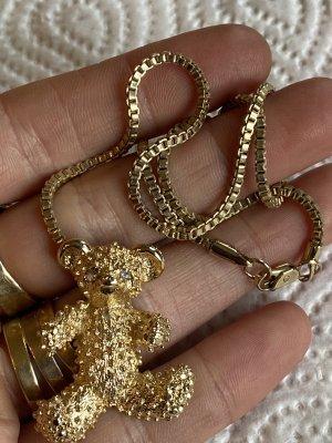 Große Teddy Anhänger antik mit antike Halskette 50 cm