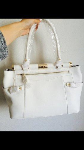 Große weiße Tasche mit goldenen Details