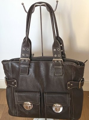 abro Torba shopper czarno-brązowy-srebrny Skóra