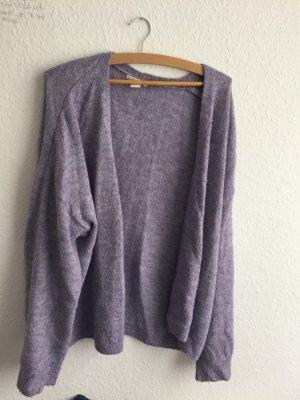 Cardigan en crochet violet-rose clair acrylique