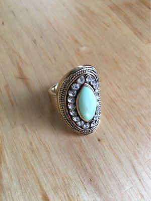 Großer goldener Statement Ring mit türkisem Stein