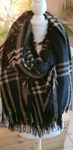 Fringed Scarf black-cream