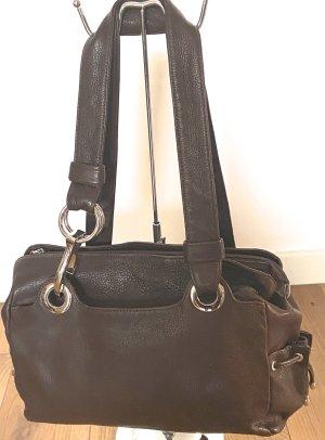 Shopper argenté-brun foncé cuir