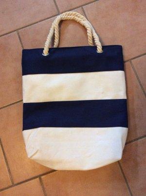 Shopper blanc-bleu foncé
