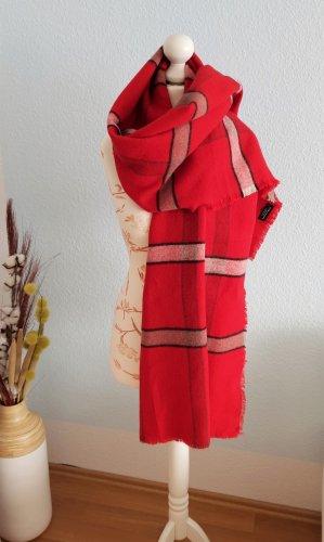 großer, roter, karierter Schal von Zara