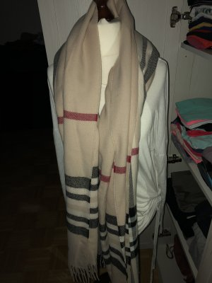 Großer Schal mit Fransen beige schwarz rot kariert wie neu