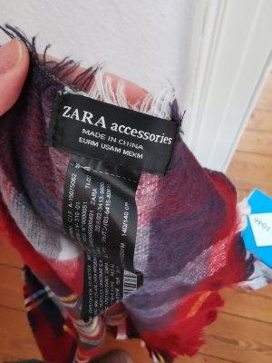 Zara Wełniany szalik czerwony-niebieski