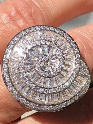 Statement ring lichtgrijs-wit Zilver
