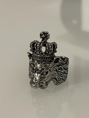 Statement ring zilver-lichtgrijs