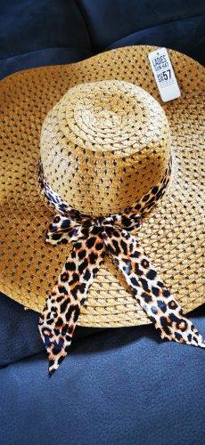 Großer  Strohhut Sonnenhut Sommerhut Hut Gr 57 Leo Leopard exotisch neu Mit Etikett