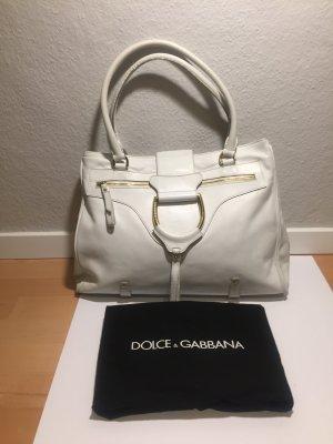 Dolce & Gabbana Shopper doré-blanc cuir
