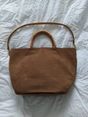 Großer Zara Shopper / Tote / Handtasche aus Suede Leder in Caramel / hellbraun / beige