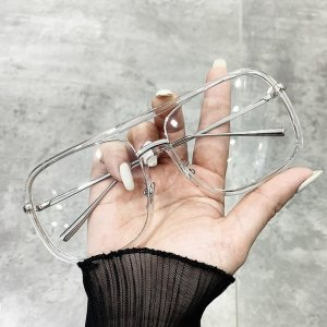 Großes quadratisches Metall Brillengestell Damen Herrn Unisex Transparent Plastik schick