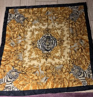 Foulard en soie noir-orange doré soie