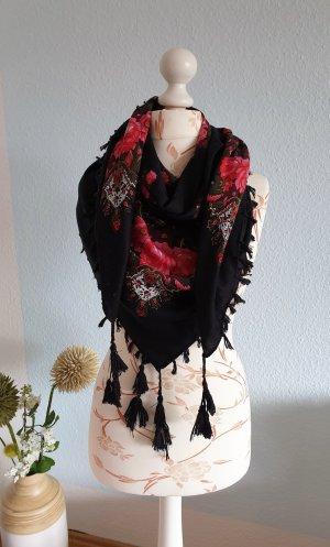 großes Tuch, Schal mit Blumenmuster mit Quasten von H&M