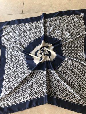 Zijden doek wit-donkerblauw