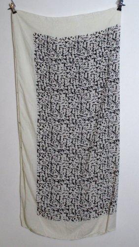 Großes Tuch Weiß Schwarz Made in India Viskose