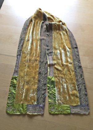grün-gelber Samtschal, 165 cm lang