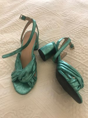 Zara Sandały na obcasie z paskiem w kształcie litery T zielony